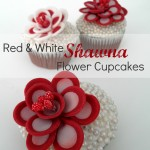 Red and White Shawna Flower Cupcakes