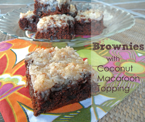 Decadent Chocolate Chip Brownies with a Coconut Macaroon Topping