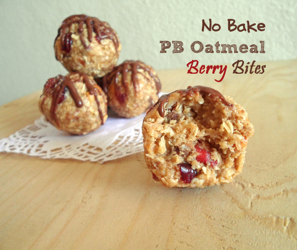 No Bake – Peanut Butter Oatmeal Berry Bites