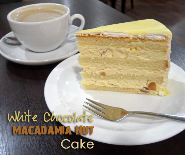 White Chocolate Macadamia Nut Cake Slice