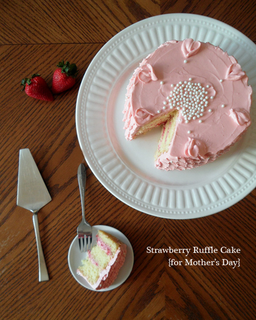 Strawberry Ruffle Cake for Mothers Day | SpecialtyCakeCreations.com