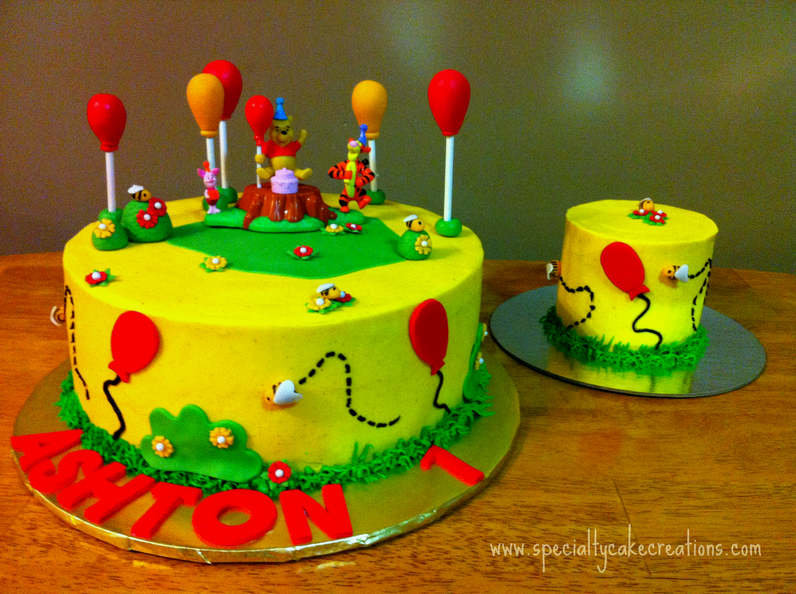 Winnie The Pooh First Birthday Cake With Smash